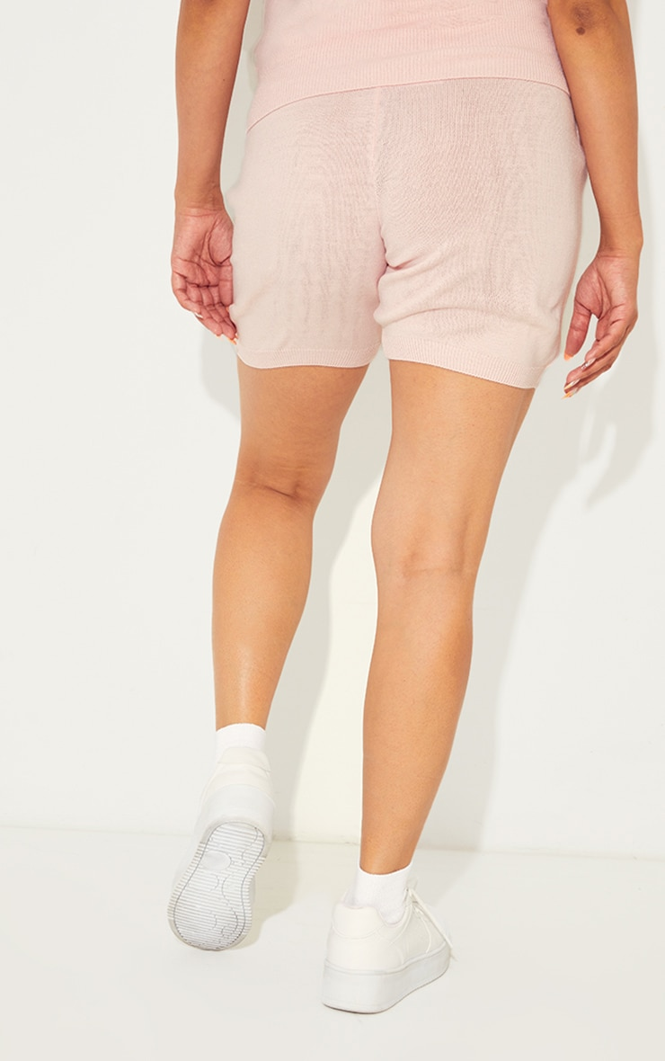 Baby Pink Soft Knitted Pocket Detail Cycling Shorts 3