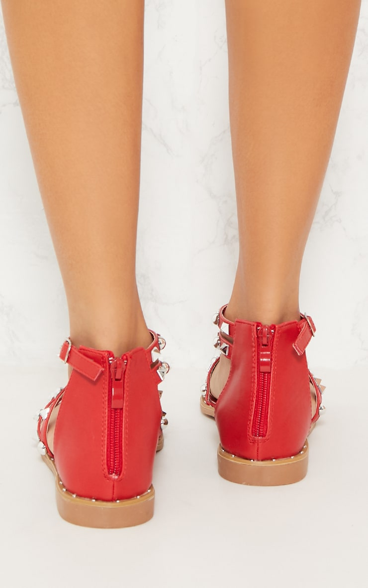 Red Studded Strappy Flat Sandals 4