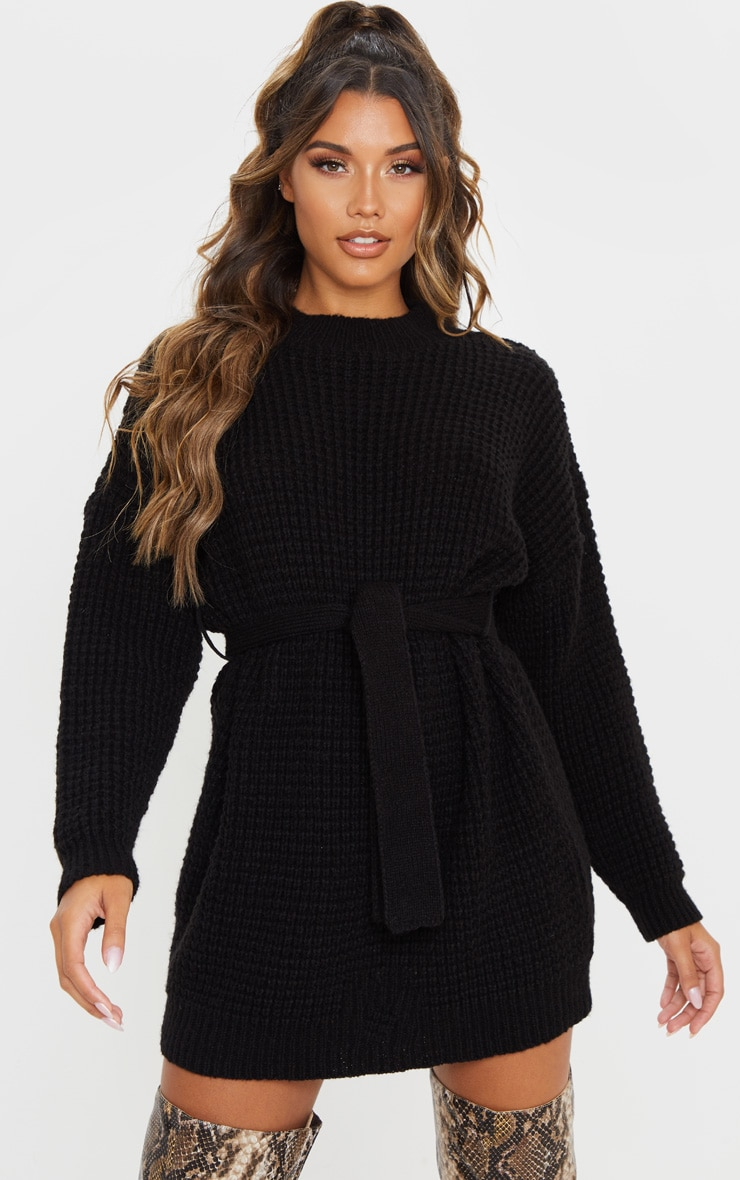 Black Soft Touch Belted Knitted Sweater Dress 4