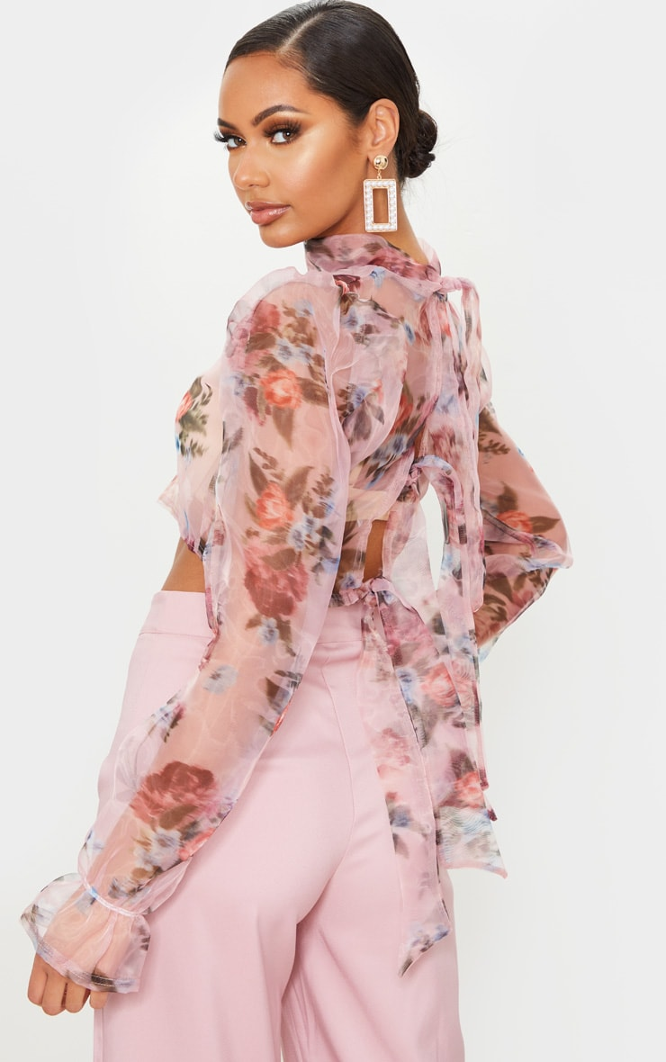 Pink Tie Back Floral Print Organza Crop Top 4