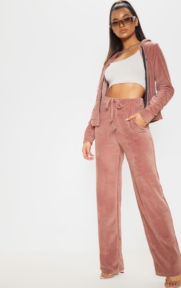 Rose Mix & Match Velour Wide Leg Trouser 1