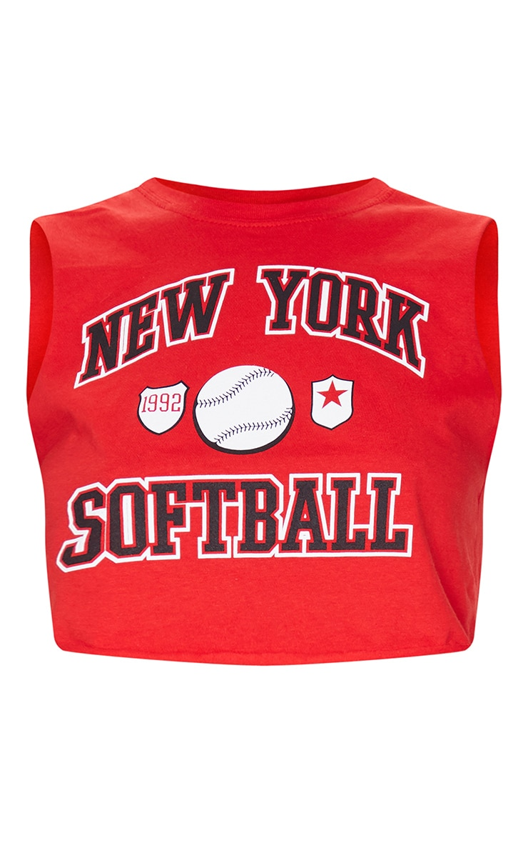 New York Red Softball Cropped Vest 5