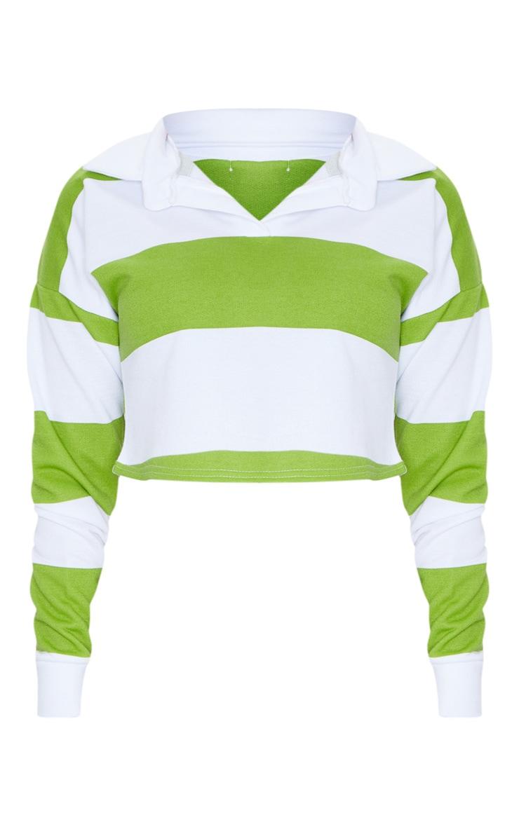 Lime Stripe Collar Polo Long Sleeve Crop Top 5