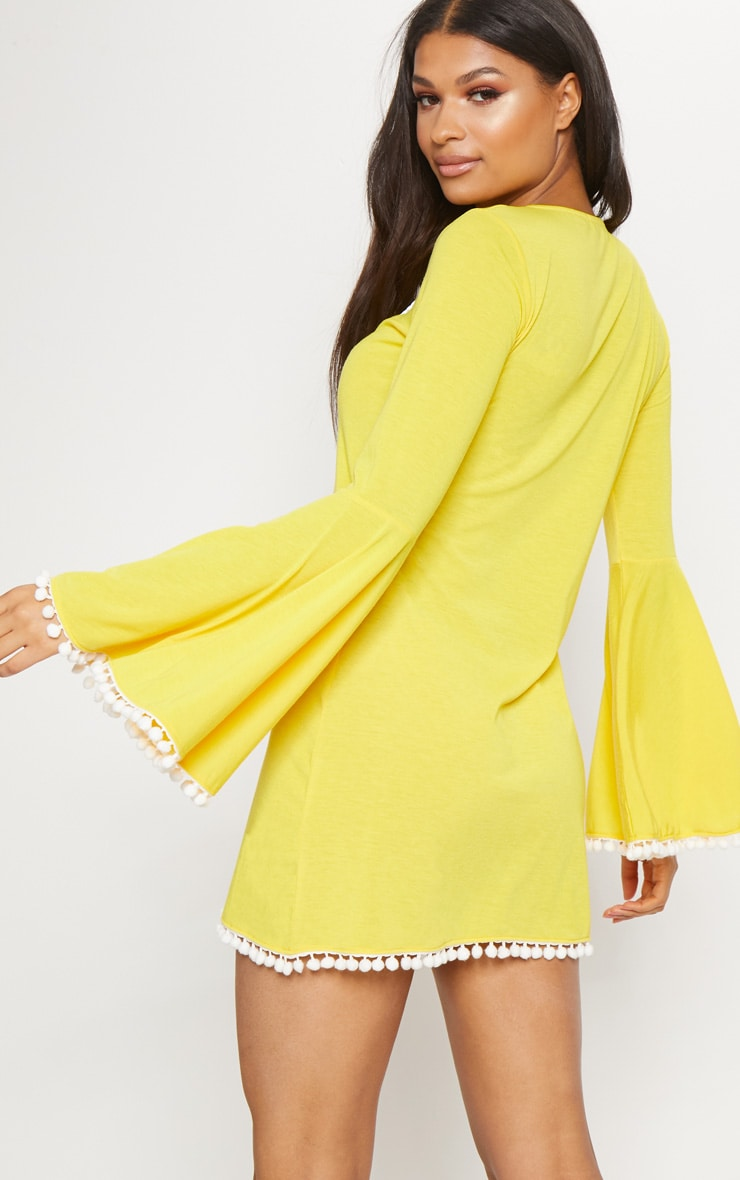 Yellow Pom Pom Lace Trim Fluted Sleeve Shift Dress 2