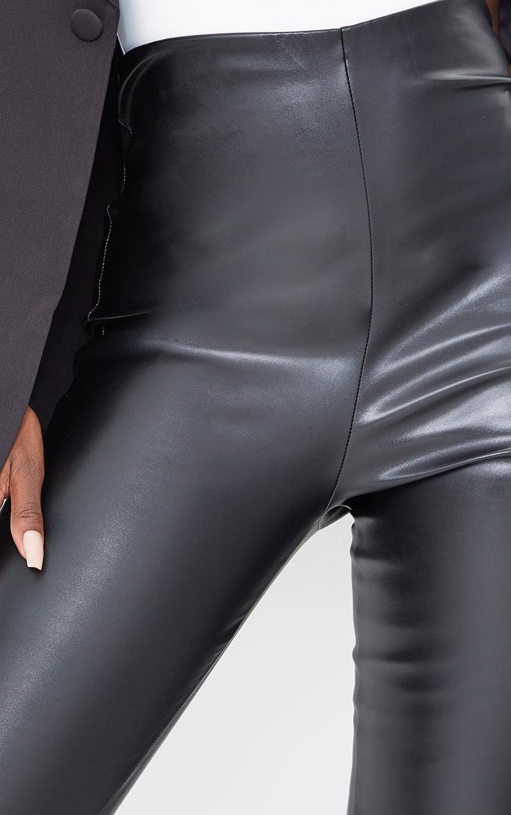 Tall Black Basic Faux Leather High Waist Leggings 4