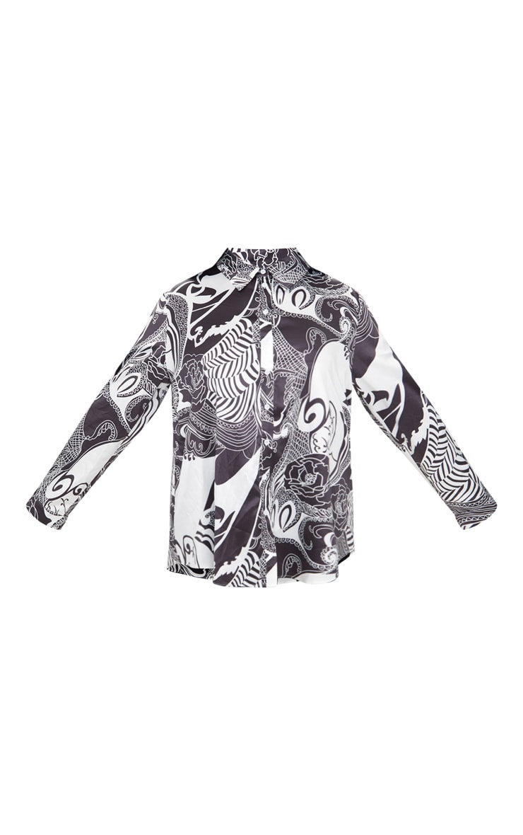Plus White Monochrome Printed Satin Oversized Shirt 3