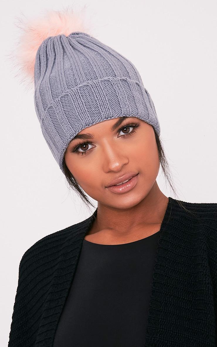 Alaxa Grey Knitted Pom Pom Beanie 1