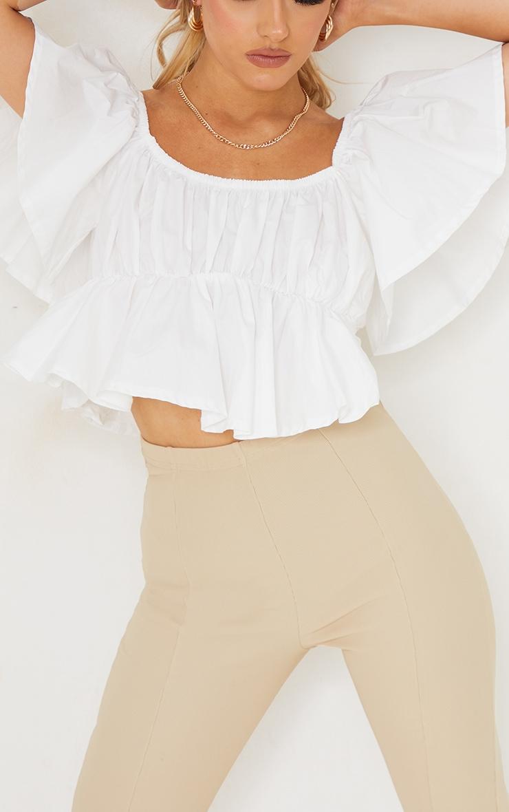 White Cotton Poplin Bardot Frill Crop Top 4