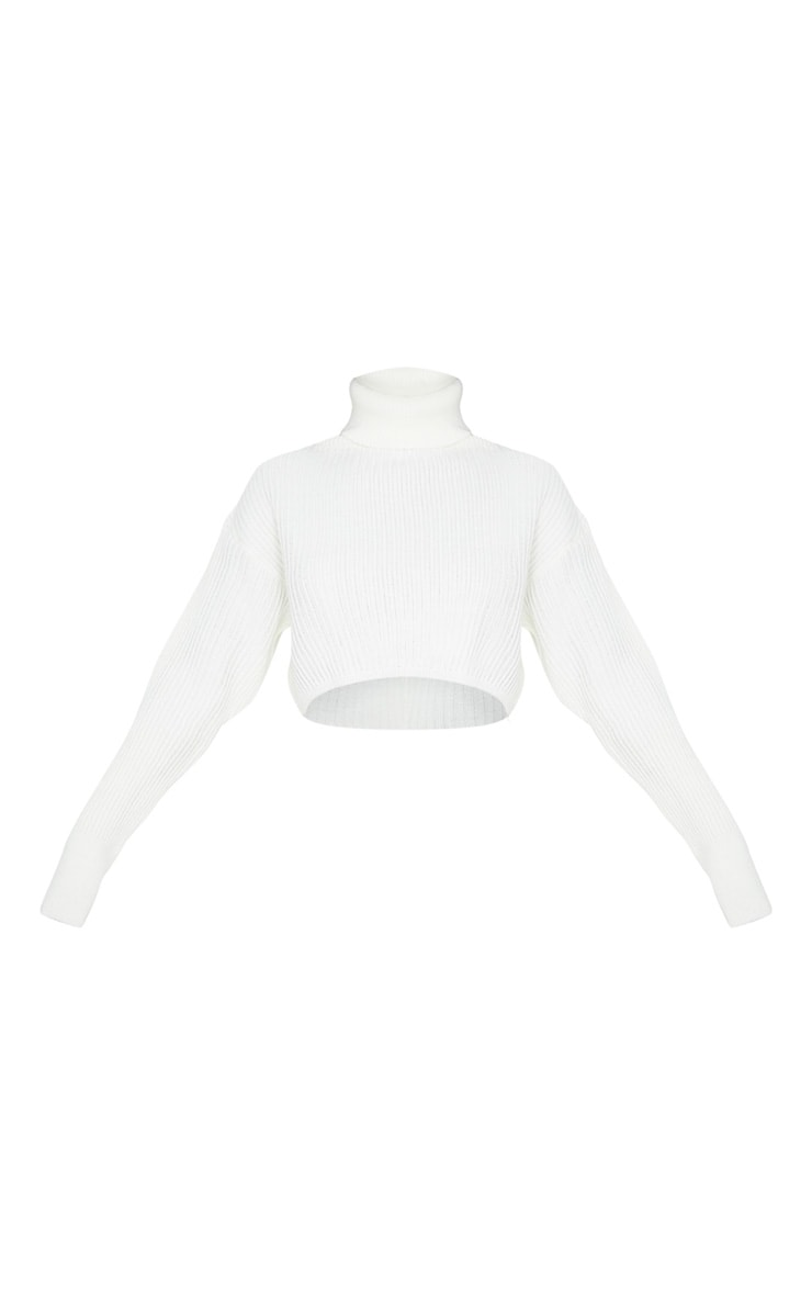 Ivory Ribbed Knitted High Neck Crop 3