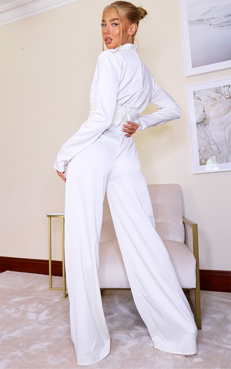 White Satin High Neck Long Sleeve Jumpsuit 2
