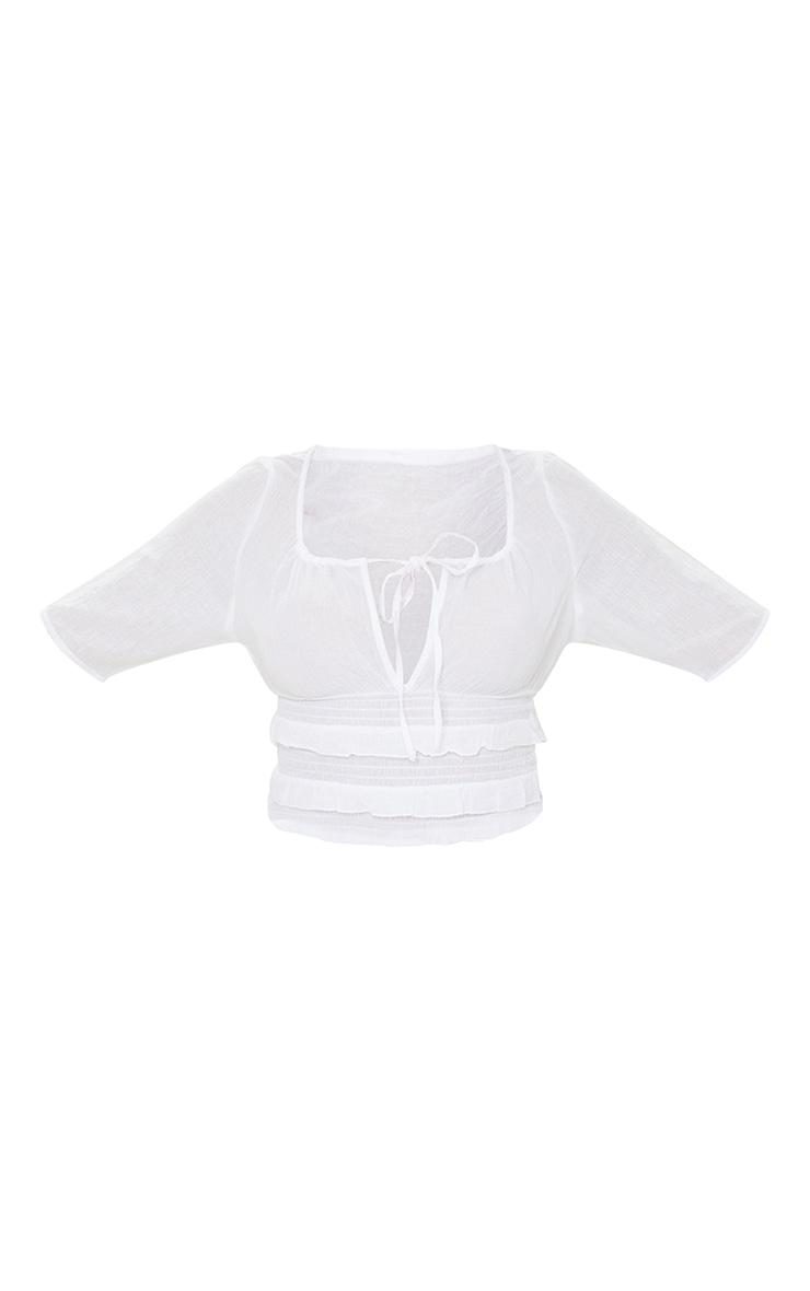 White Linen Look Tie Ruffle Hem Short Sleeve Crop Top 5