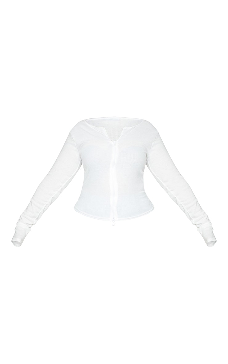 Plus Cream Soft Brushed Rib Double Zip Front Top 5