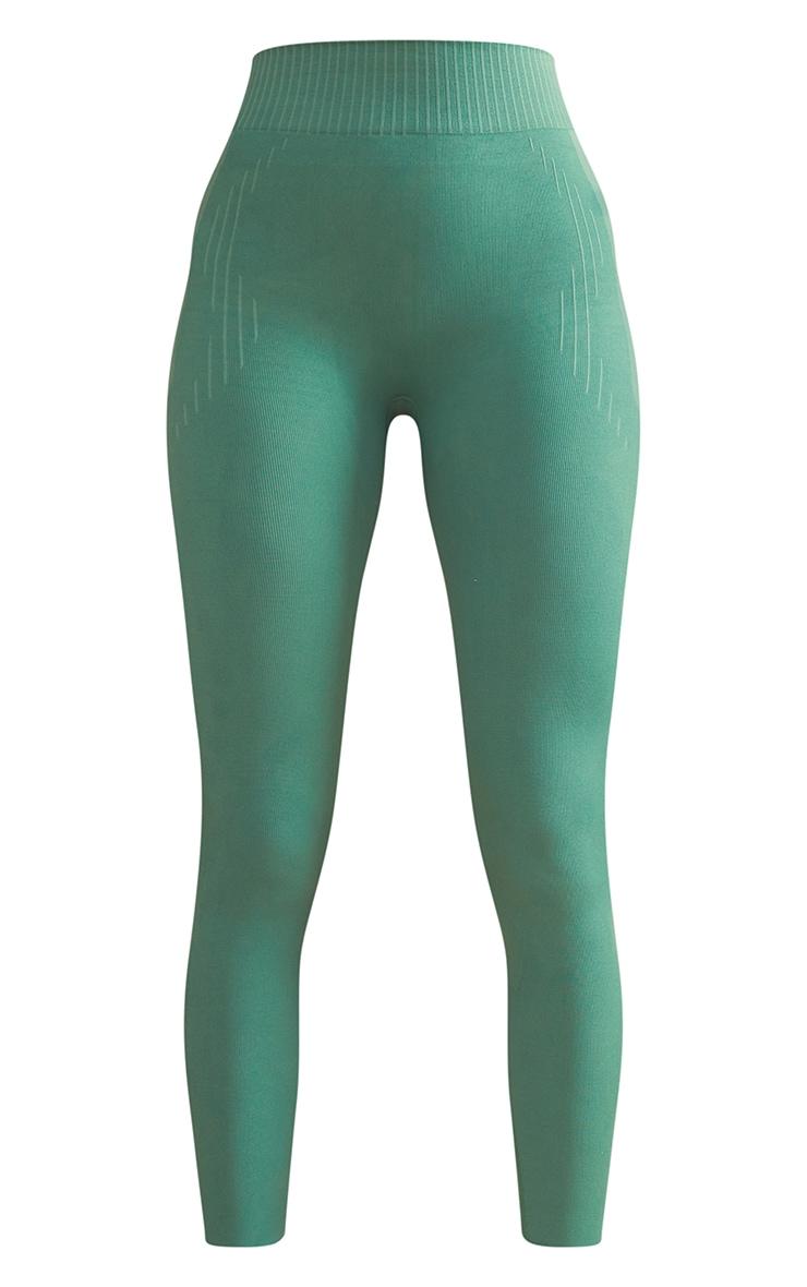 PRETTYLITTLETHING Green Contour Seamless Gym Leggings 5