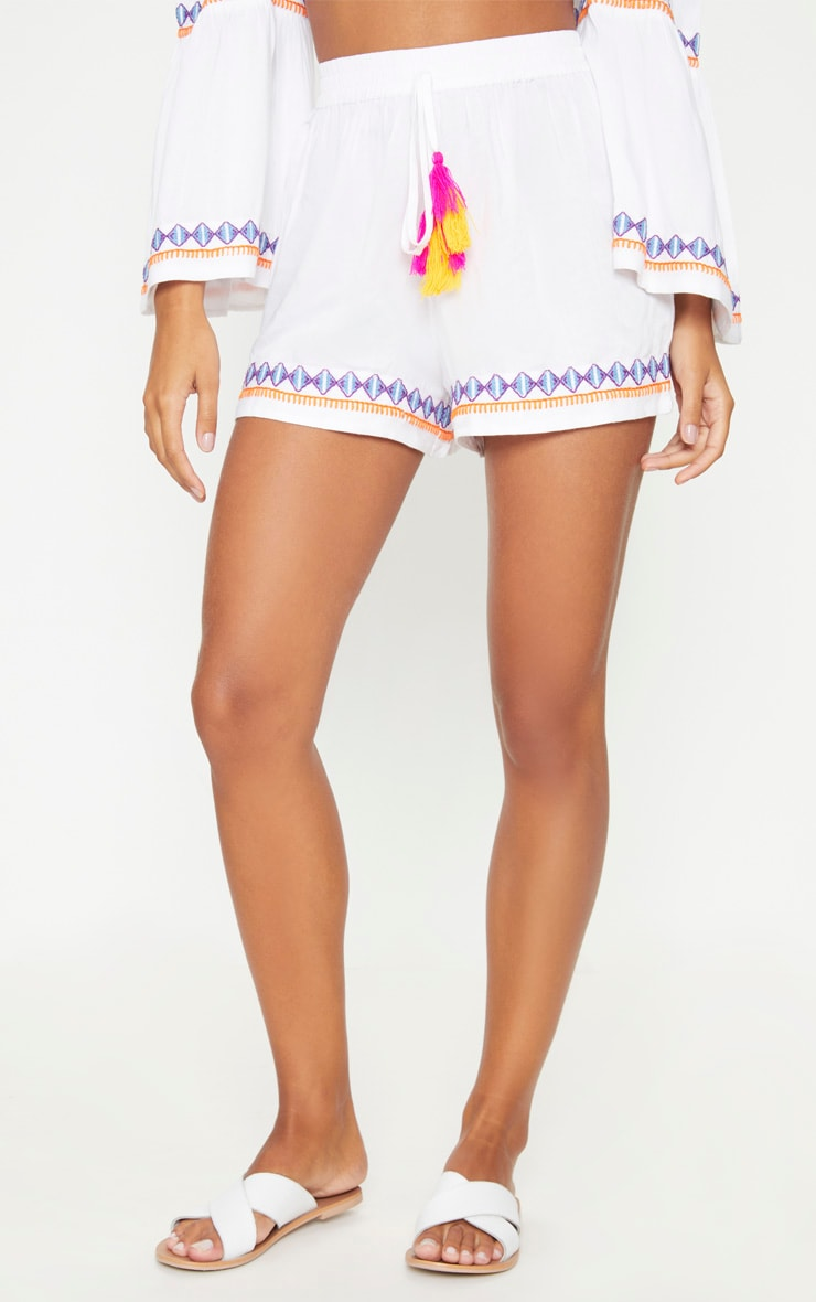 White Embroidered Floaty Shorts 2