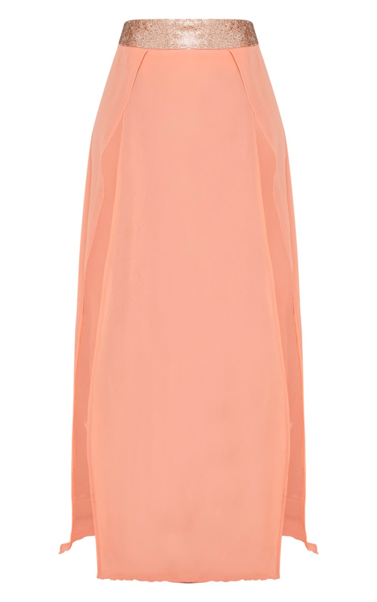 Peach Diamante Waist Split Beach Skirt 3