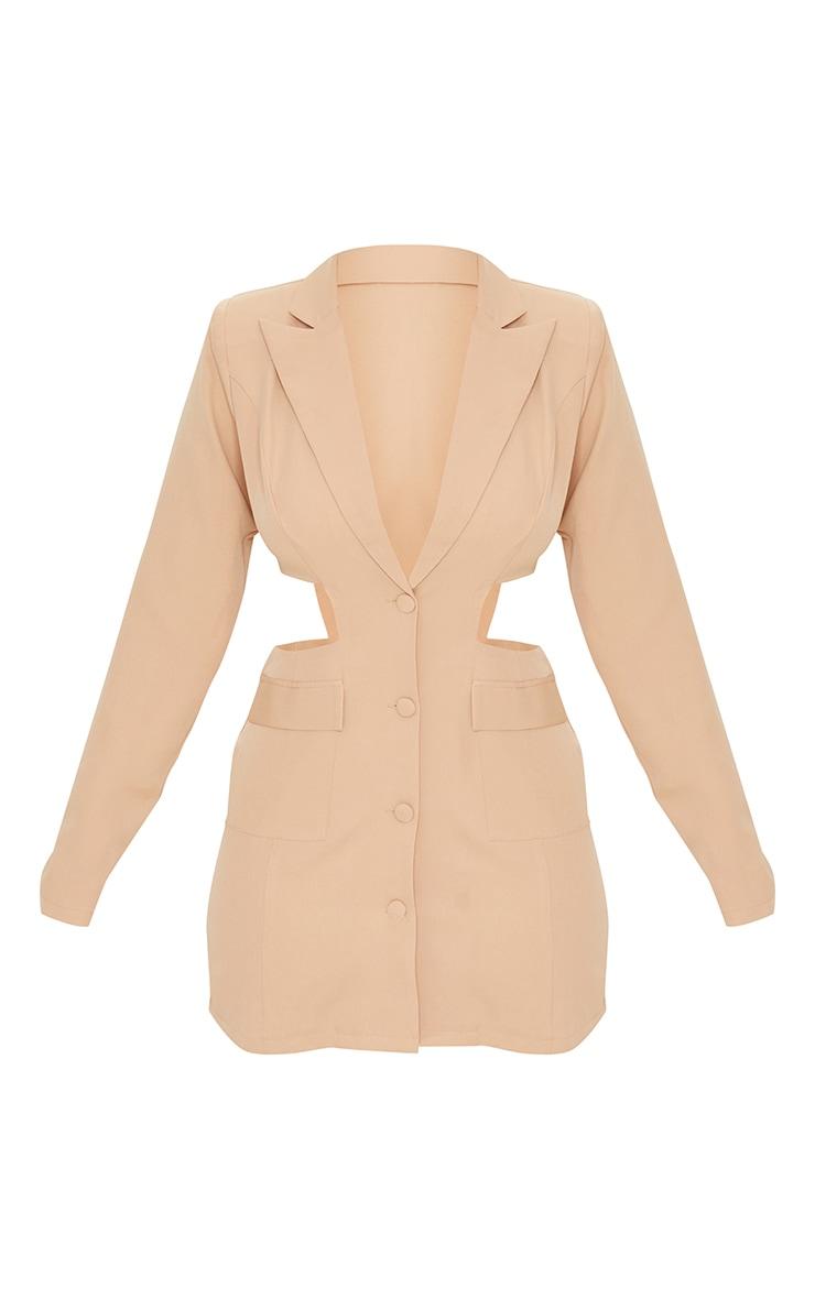 Camel Shoulder Pad Waist Cut Out Long Sleeve Blazer Dress 5
