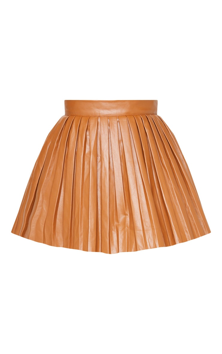 Camel Faux Leather Pleated Skater Skirt 4