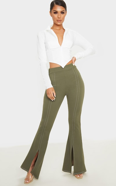 Khaki Split Leg Flare Trouser