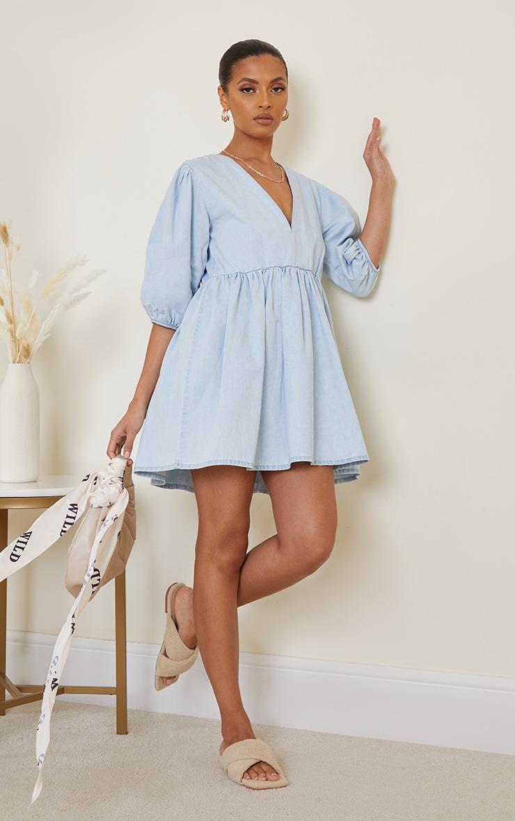 Light Blue Wash V Neck Denim Dress image 3