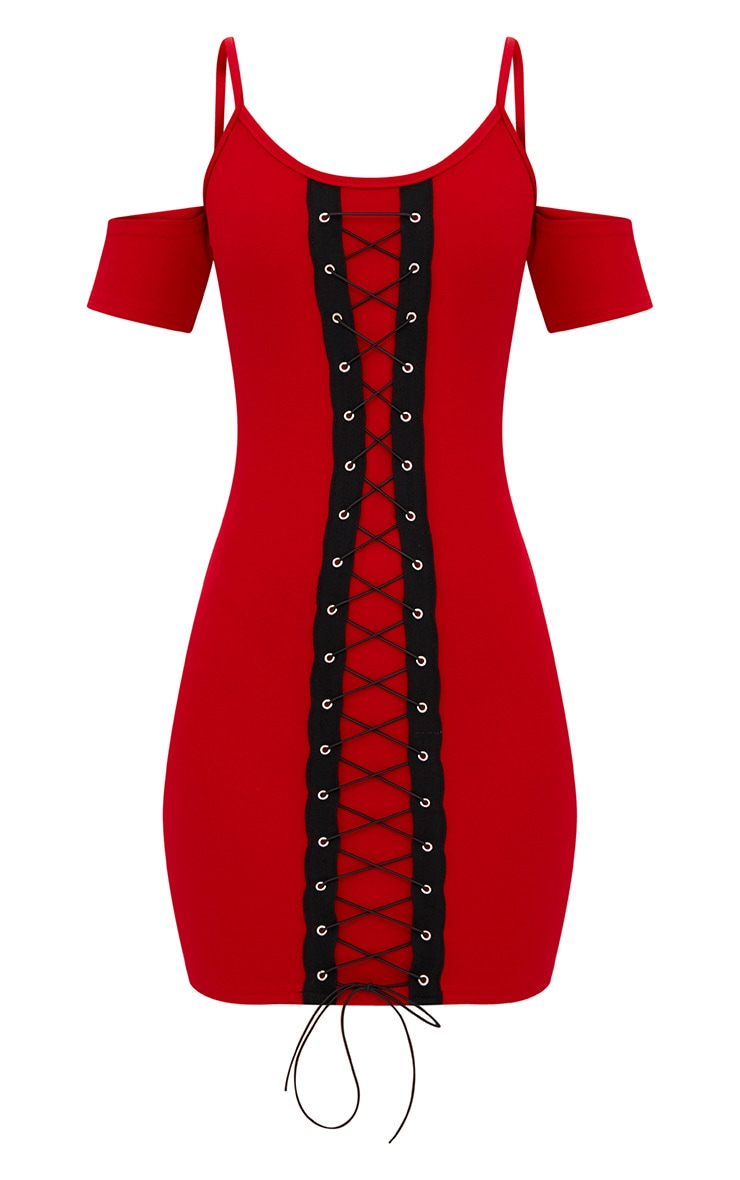 Red Cold Shoulder Lace Up Detail Bodycon Dress  3