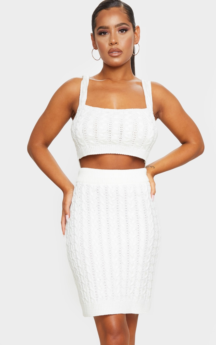 Cream Cable Mini Skirt Knitted Set 1