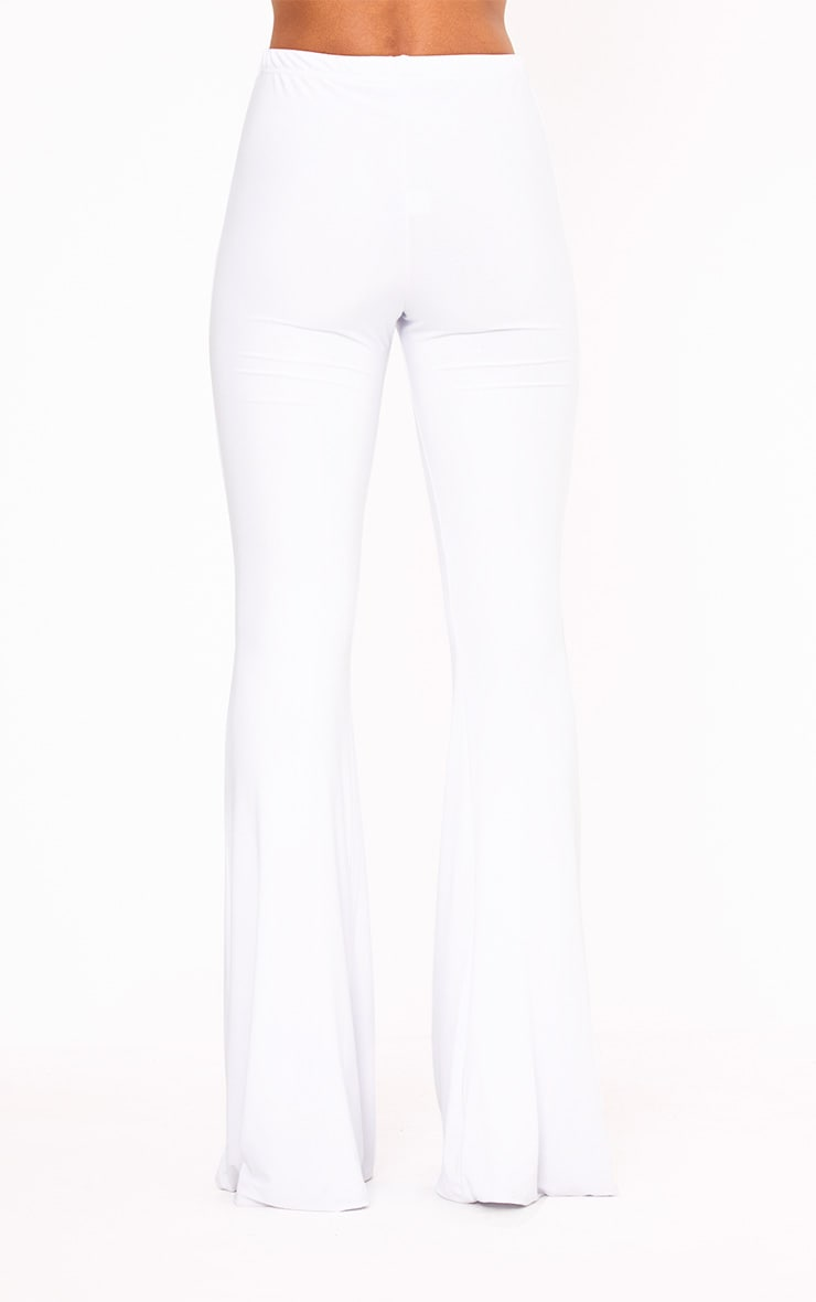 White Slinky Flared Trousers 4