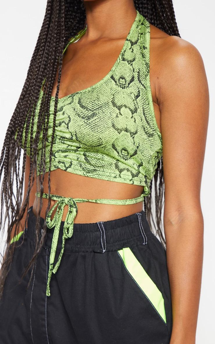 Neon Snake Printed Halterneck Tie Top 5