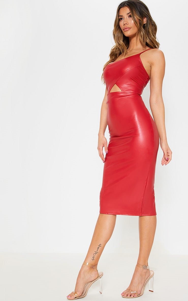 Red Faux Leather One Shoulder Cut Out Midi Dress 4