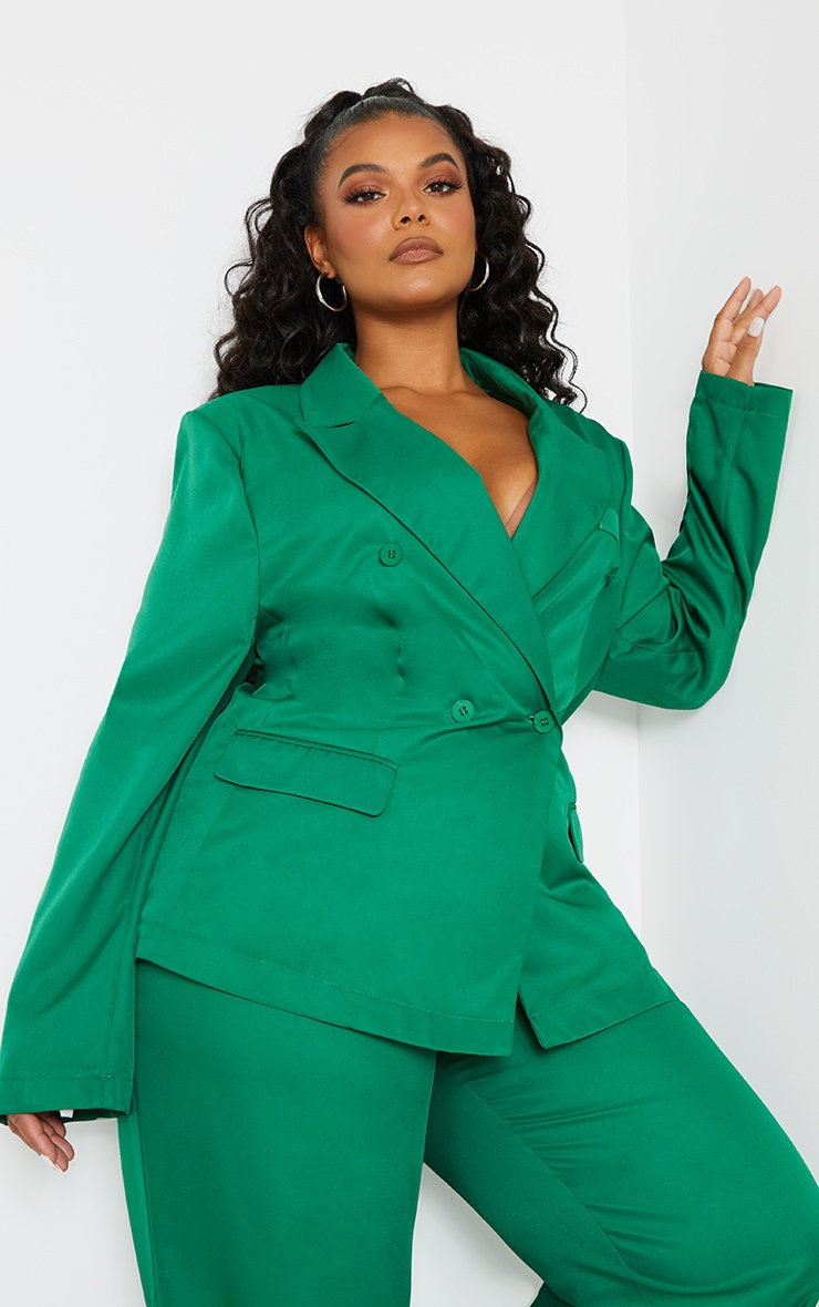 Plus Green Woven Double Breasted Shoulder Pad Blazer image 1