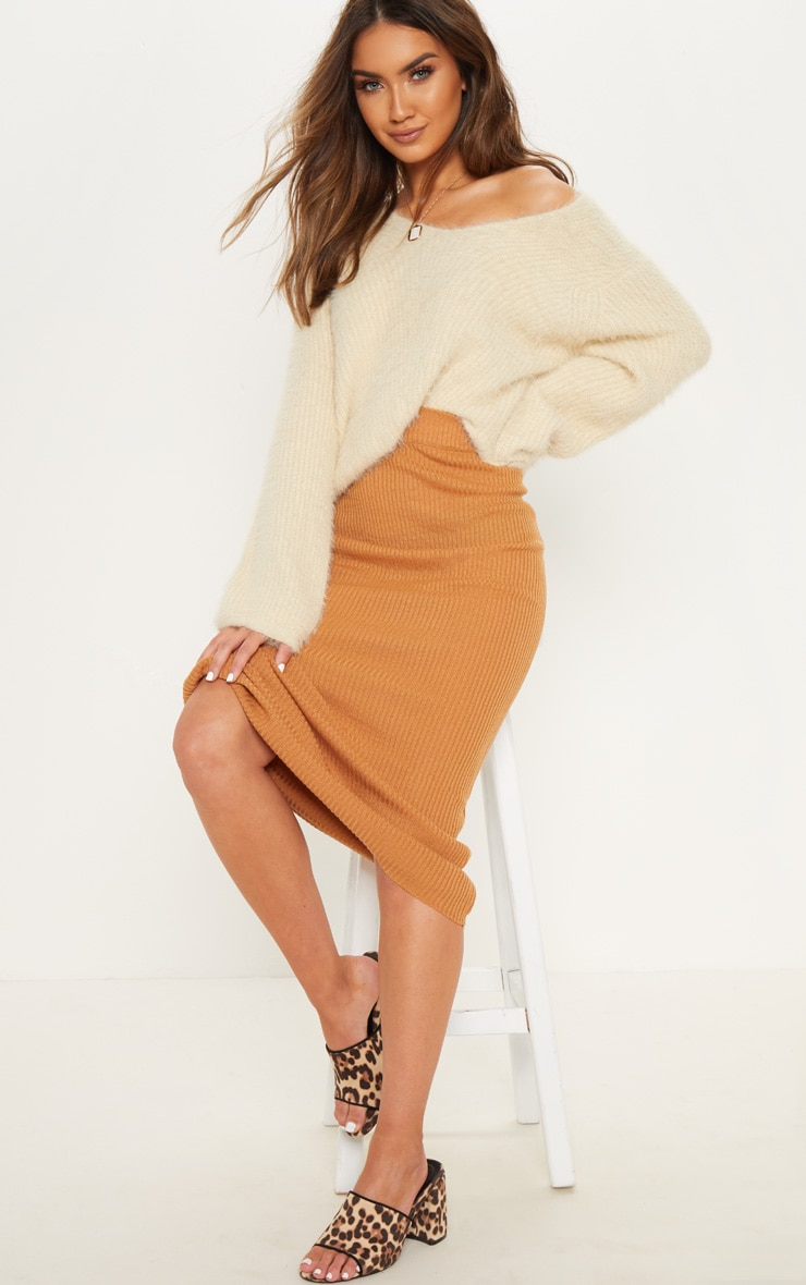 Camel Ribbed Knitted Midaxi Skirt