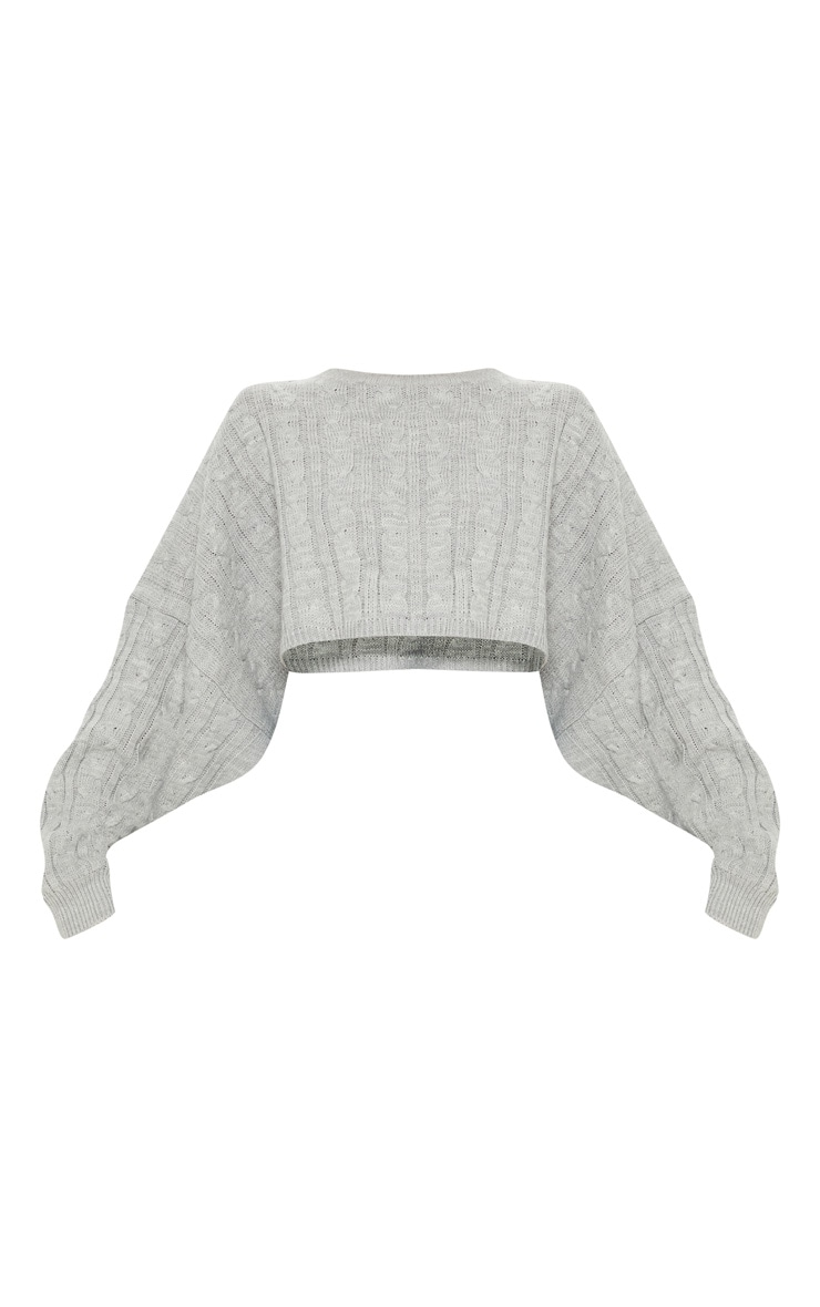 Grey Cable Cropped Knitted Sweater  3