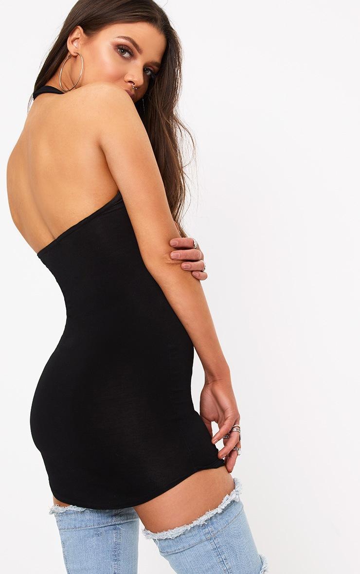 Basic Black Halterneck Bodycon Dress 2