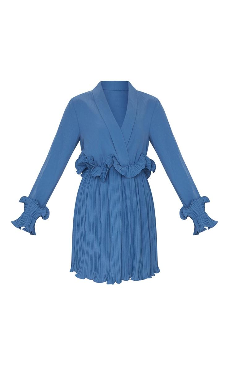 Steel Blue Long Sleeve Pleated Skater Dress 5