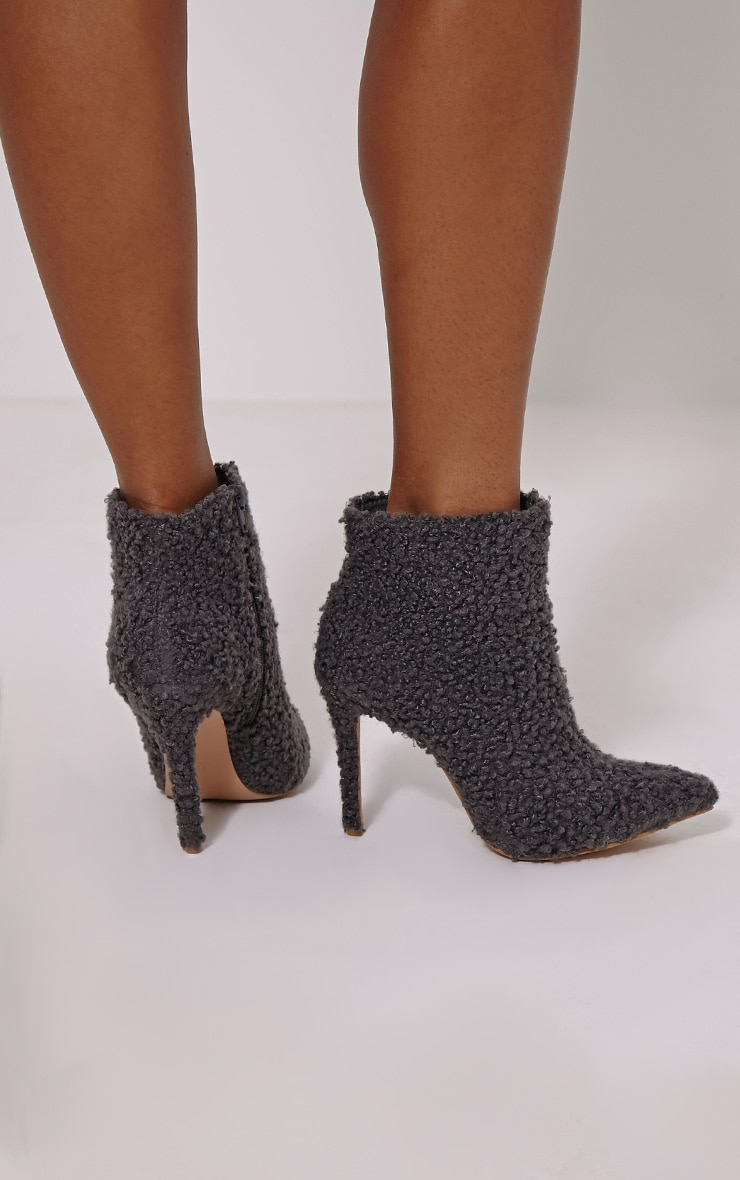 Harper Grey Faux Wool Ankle Boots 2