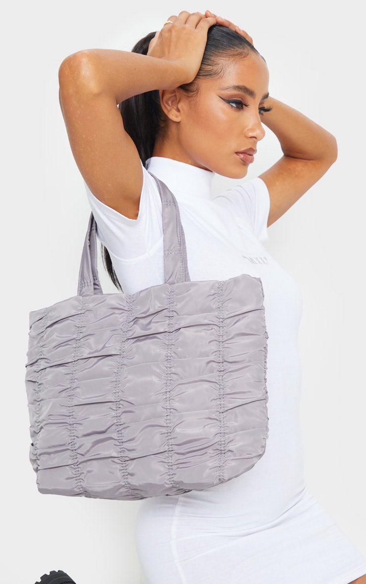 Silver Ruched Tote Bag 1