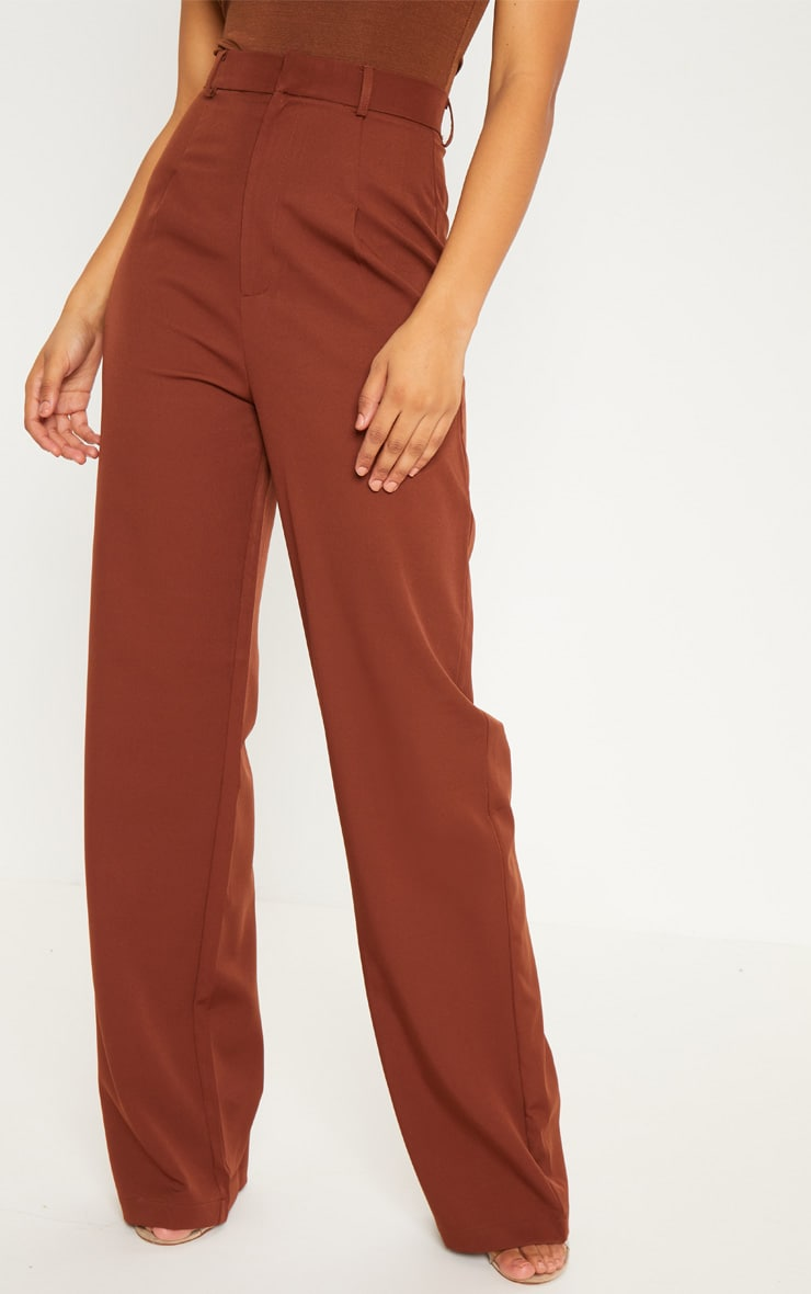 Tall Chocolate Brown High Waist Wide Leg Trousers 2