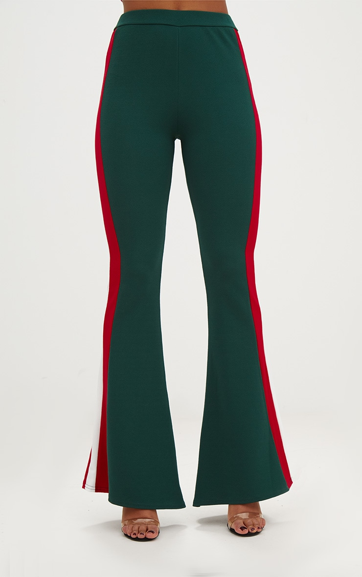 Emerald Green Sports Stripe Flared Trouser 2