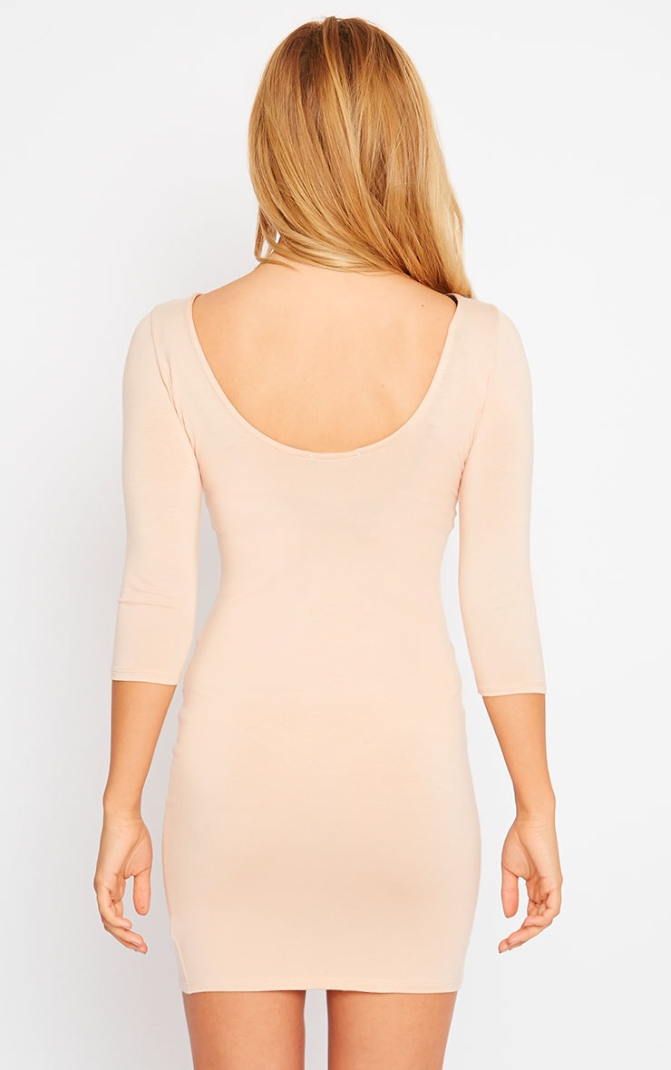 Basic Nude Scoop Back V Hem Dress 2
