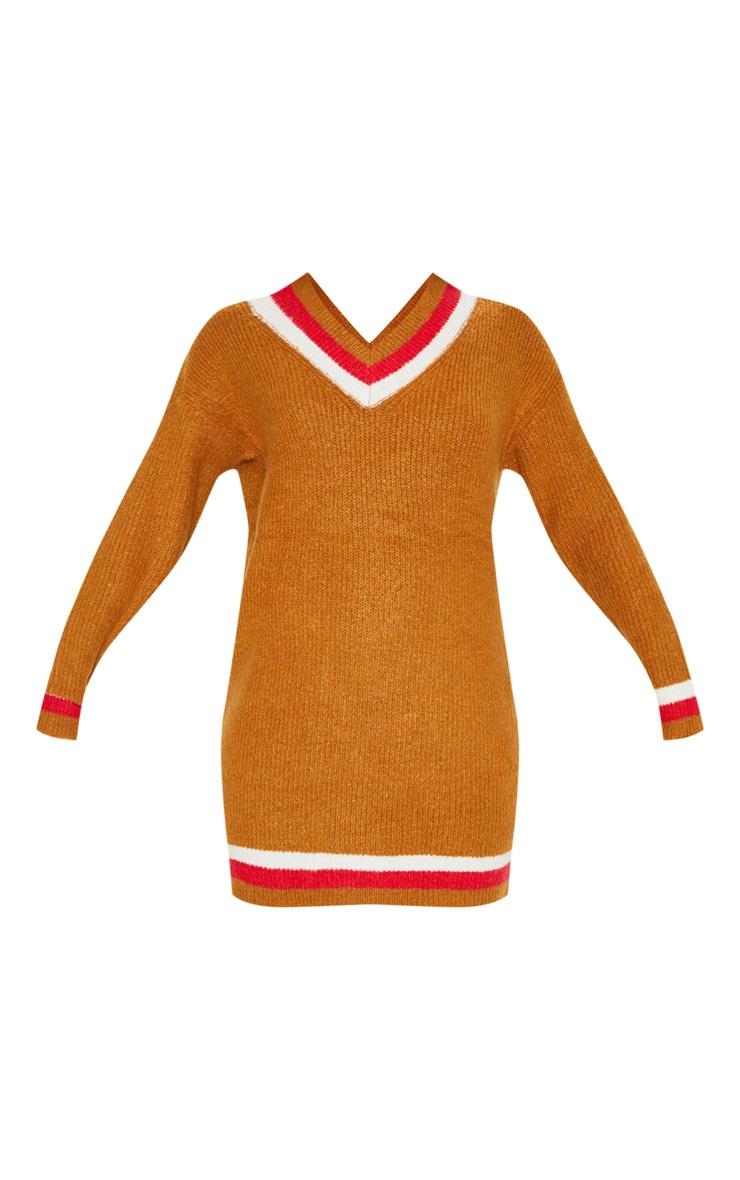 Brown V Neck Contrast Stripe Jumper Dress 3