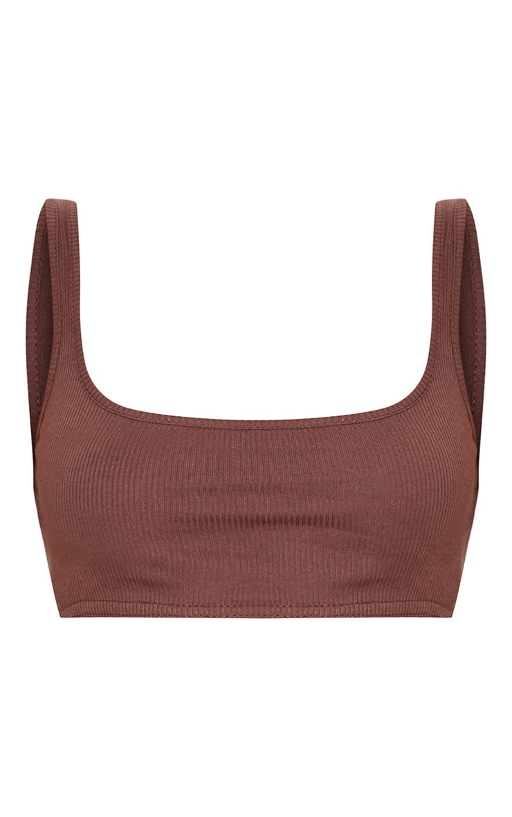 Brown Rib Extreme Square Neck Crop Top  3