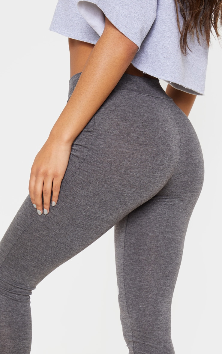 Basic Charcoal Grey High Waisted Jersey Leggings 5