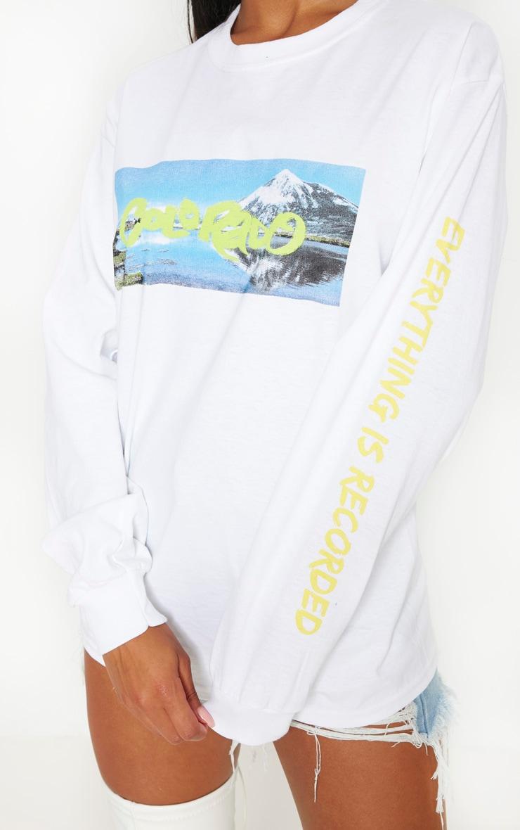 White Colorado Slogan Long Sleeve Top 5