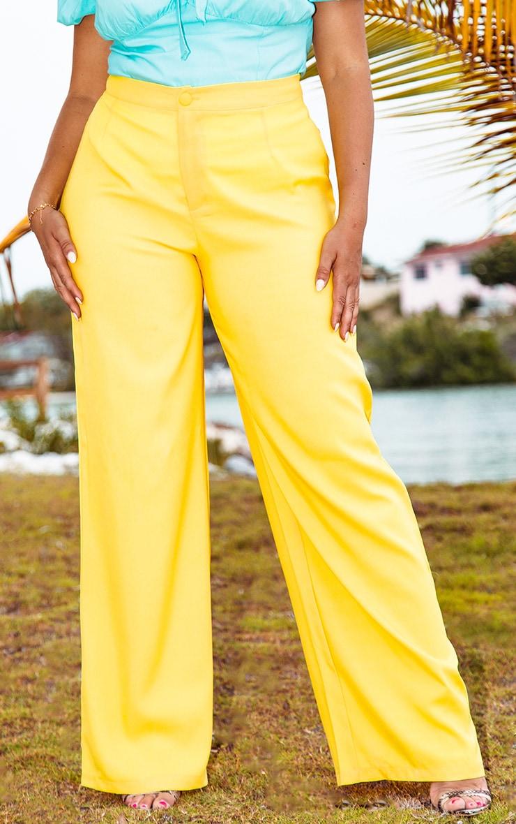 Plus Bright Yellow Button Detail Wide Leg Trouser  2