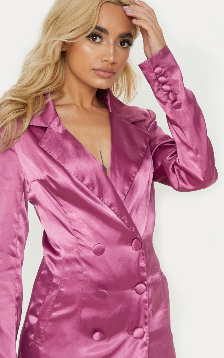 Petite Pink Satin Button Detail Blazer Dress 5