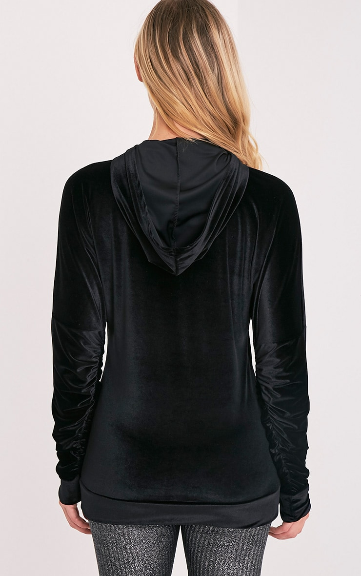 Mai Black Velvet Pocket Front Ruched Sleeve Hoodie 3
