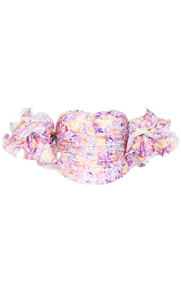 Plus Lilac Floral Print Puff Sleeve Bardot Crop Top 5
