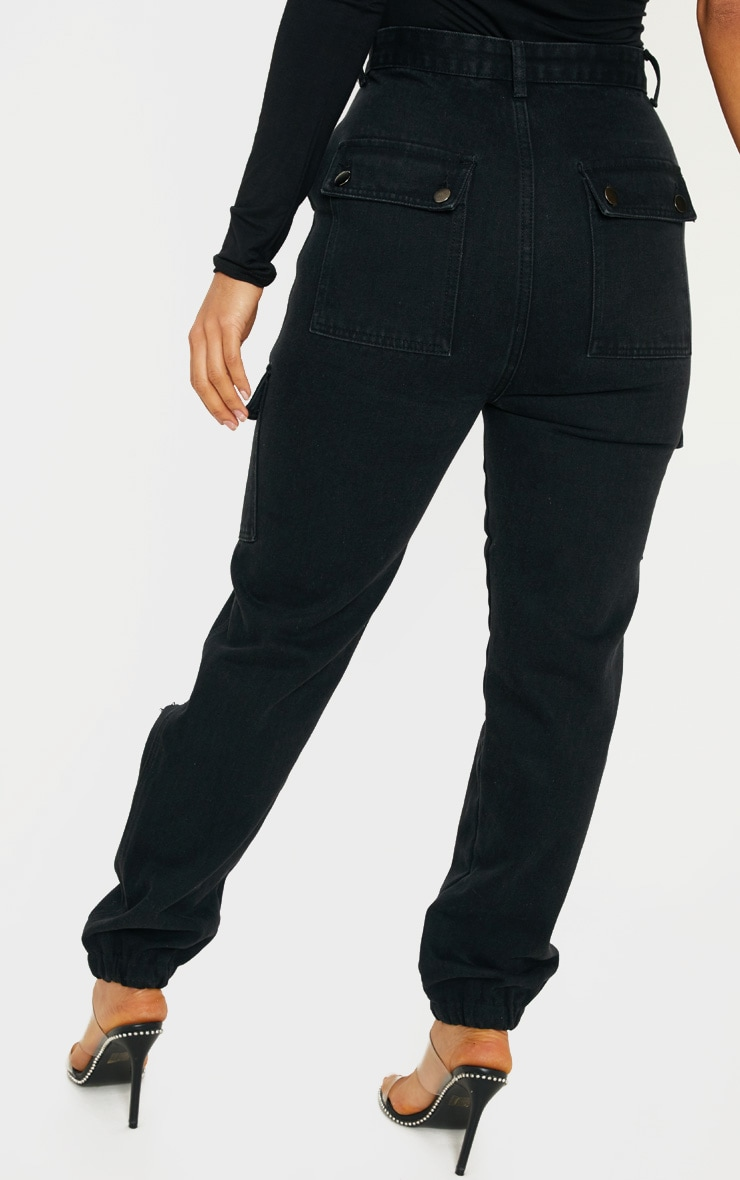Black Distressed Cargo Pocket Jeans 4