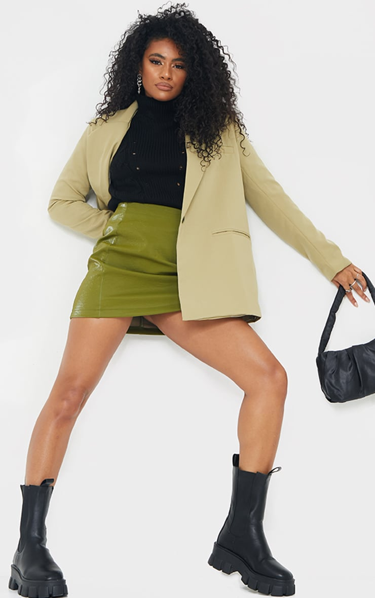 Olive Textured Faux Leather Mini Skirt 1