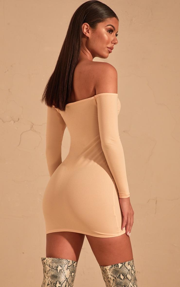 Cream Bardot Bodycon Dress  2
