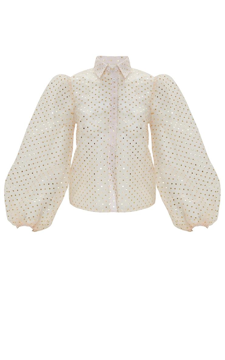 Petite Cream Dobby Mesh Frill Long Sleeve Blouse 3